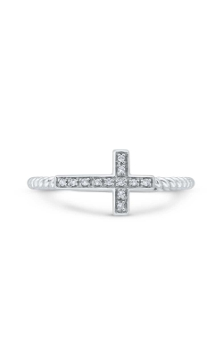 Diamond Accent Sideways Cross Ring In Sterling Silver product image