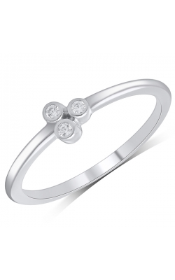 Three Stone Bezel-Set Diamond Ring In White Gold, 1/20ctw product image