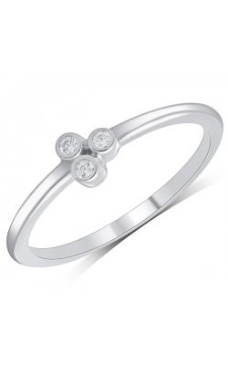 Three Stone Bezel-Set Diamond Ring In White Gold, 1/20ctw product image
