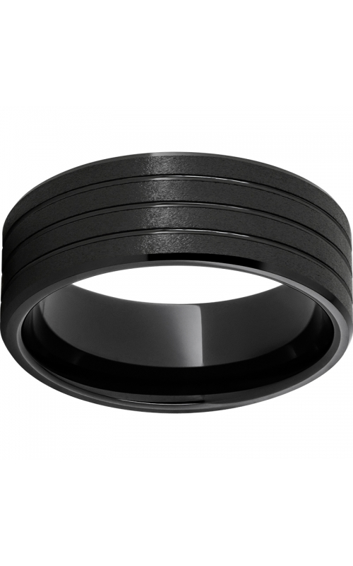 Men's Black Ceramic Stone Finish Three Groove Band, 8mm product image