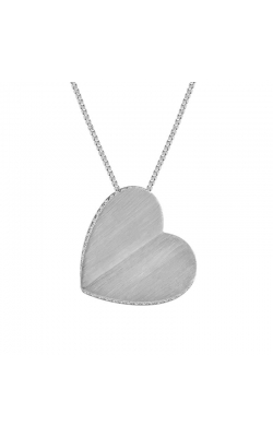 Brushed Finish Sterling Silver Diamond Heart Pendant, 1/10ctw product image