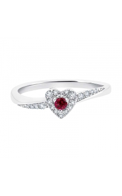 Genuine Ruby and Diamond Heart Ring in White Gold, 1/8ctw product image
