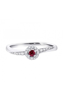 Genuine Ruby and Diamond Ring in White Gold, 1/10ctw product image