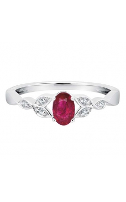 Created Ruby and Diamond Leaf Ring in Sterling Silver product image