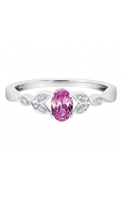 Created Pink Sapphire and Diamond Leaf Ring in Sterling Silver product image