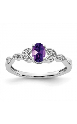 Genuine Amethyst and Diamond Leaf Ring in Sterling Silver product image