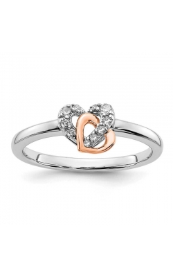 Diamond Interlocking Hearts Ring in Two-Tone Gold, 1/10ctw product image