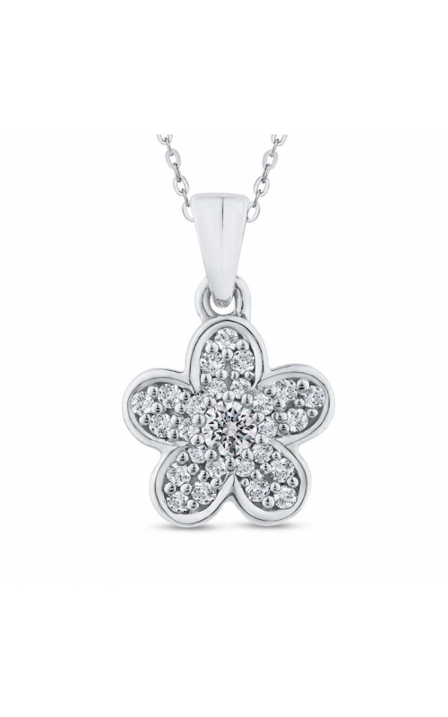 Diamond Cluster Flower Pendant in Sterling Silver, 1/4ctw product image