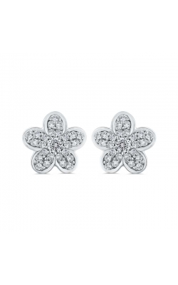 Diamond Cluster Flower Earrings in Sterling Silver, 1/5ctw product image