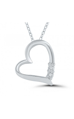 Two-Stone Miracle Diamond Heart Pendant in Sterling Silver product image