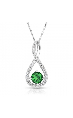 Created Emerald & Diamond Pendant In Sterling Silver, 1/10ctw product image