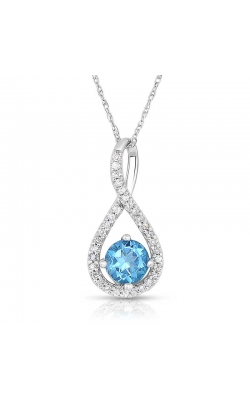 Blue Topaz & Diamond Pendant In Sterling Silver, 1/10ctw product image