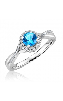 Blue Topaz & Diamond Ring In Sterling Silver, 1/10ctw product image