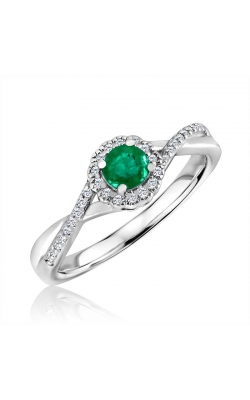Created Emerald & Diamond Ring in Sterling Silver, 1/10ctw product image