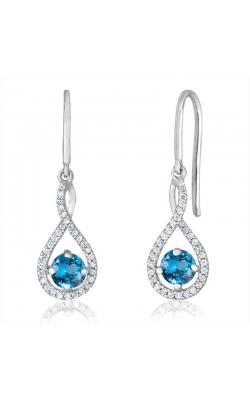 Blue Topaz & Diamond Dangle Earrings In Sterling Silver, 1/20ctw product image