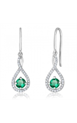 Created Emerald & Diamond Dangle Earrings In Sterling Silver, 1/20ctw product image