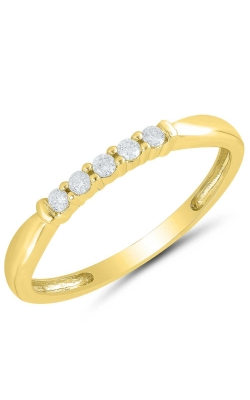 Five Stone Diamond Anniversary Band In Yellow Gold, 1/10ctw product image