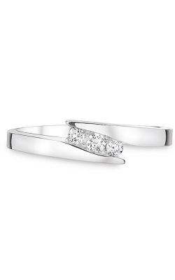 Three Diamond Bypass Ring in White Gold, 1/10ctw product image