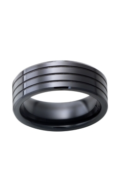 Men's Black Ceramic Three Groove Band, 8mm product image