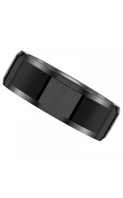 Men's Black Ceramic Beveled Band, 8mm product image