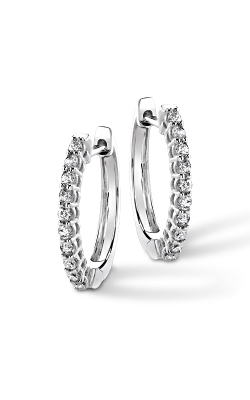 Mini Diamond Hoop Earrings in White Gold, 1/8ctw product image