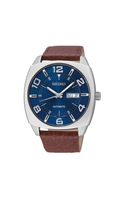 Seiko Recraft Men's Brown Leather Blue Dial Automatic Watch - SNKN37 product image
