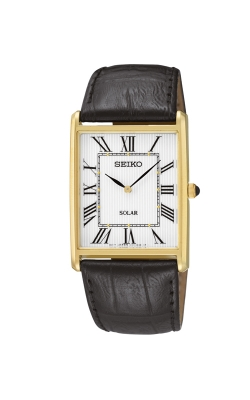 Seiko Men's Solar Black Leather Strap Watch - SUP880 product image