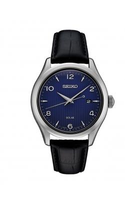 Seiko Men's Black Leather Strap Solar Watch - SNE491 product image