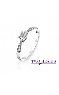 Two Hearts Princess-Cut Quad Diamond Promise Ring In White Gold, 1/6ctw product image