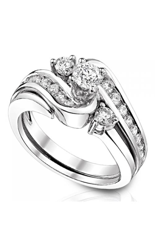 Two Hearts Diamond Bridal Set in 14K White Gold, 1ctw product image
