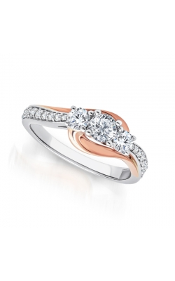Two Hearts Three Stone Diamond Engagement Ring In Two-Tone Gold, 1/2ctw product image