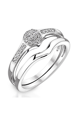 Two Hearts Diamond Bridal Set In White Gold, 1/5ctw product image