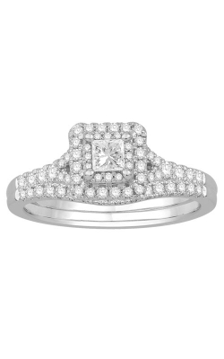 Two Hearts Princess-Cut Diamond Bridal Set in White Gold, 5/8ctw product image