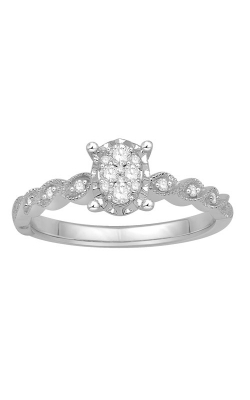 Two Hearts Composite Diamond Promise Ring In White Gold, 1/5ctw product image