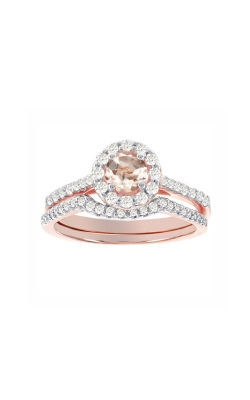 Two Hearts Morganite and Diamond Ring in 14K Rose Gold, 3/8ctw product image