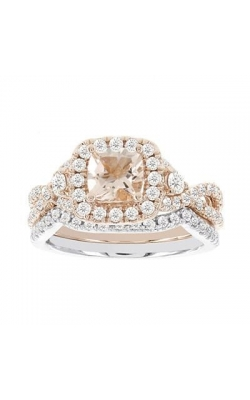 Two Hearts Morganite And Diamond Ring In 14K Two-Tone Gold, 1-1/10ctw product image