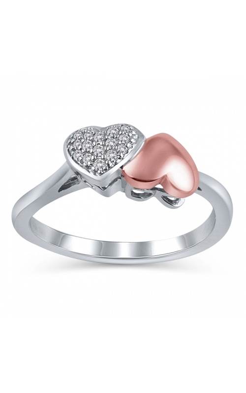 Two Hearts Composite Diamond Promise Ring in Two-Tone Gold, 1/8ctw product image