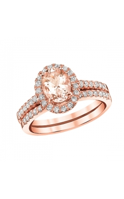 Two Hearts Oval Morganite And Diamond Ring In 14K Rose Gold, 1/2ctw product image
