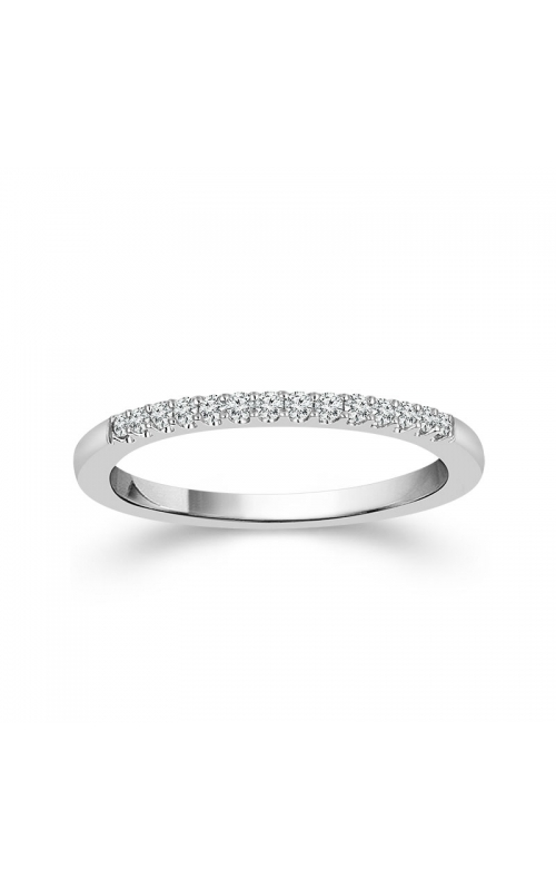 Two Hearts Diamond Wedding Band in 14k White Gold, 1/8ctw product image