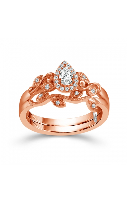 Two Hearts Vintage-Style Pear-Shaped Diamond Bridal Set in Rose Gold, 1/4ctw product image