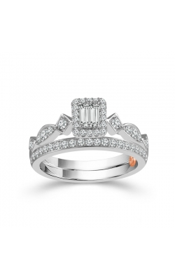 Two Hearts Baguette and Round Diamond Bridal Set in White Gold, 1/2ctw product image