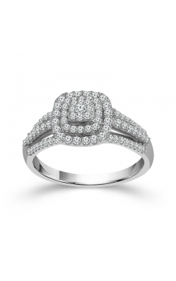 Two Hearts Diamond Cluster Double Frame Engagement Ring In White Gold, 1/2ctw product image