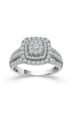 Two Hearts Diamond Cluster Double Frame Engagement Ring in White Gold, 1ctw product image