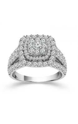 Two Hearts Diamond Cluster Double Frame Engagement Ring In White Gold, 2ctw product image