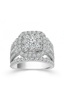 Two Hearts Diamond Cluster Halo Engagement Ring In 14K White Gold, 3ctw product image
