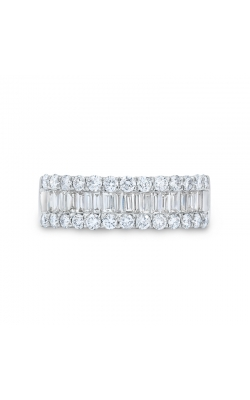 Two Hearts Baguette And Round Diamond Three Row Anniversary Band In 14K White Gold, 3/4ctw product image