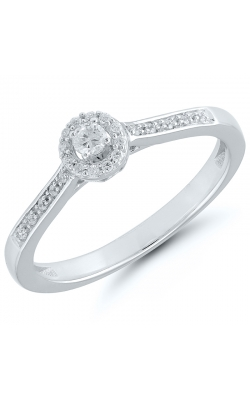 Two Hearts Halo Diamond Promise Ring In White Gold, 1/8ctw product image