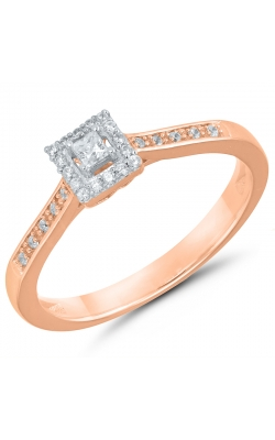 Two Hearts Princess-Cut Diamond Halo Promise Ring In Rose Gold, 1/8ctw product image