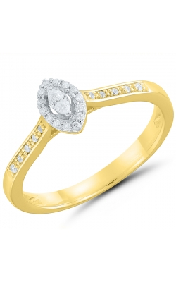 Two Hearts Marquise Diamond Halo Promise Ring In Yellow Gold, 1/8ctw product image