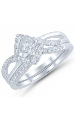 Two Hearts Quad-Princess Diamond Bridal Set in White Gold, 3/8ctw product image